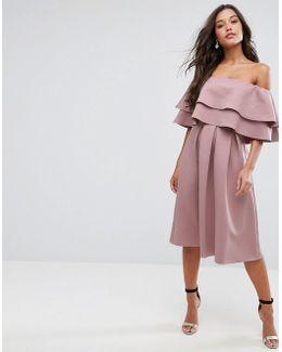 Ruffle Off Shoulder Midi Dress