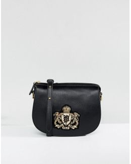 Saddle Bag In Leather With Crest