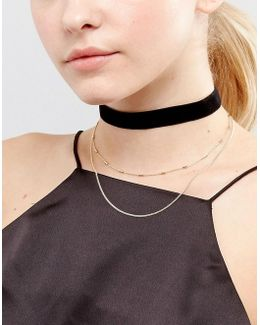 Basic Velvet And Chain Multirow Choker Necklace