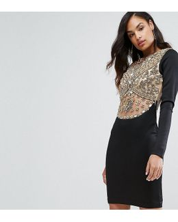 Heavy Embellished Knee Length Dress With Long Sleeves