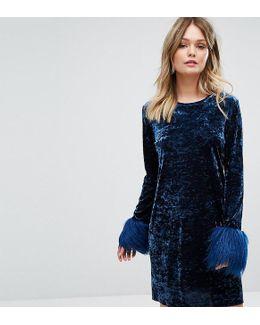 Exclusive Crushed Velvet Mini Dress Wih Fur Cuff