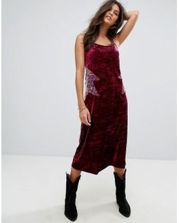 Crushed Velvet Starburst Slip Dress
