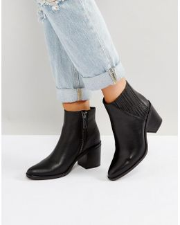 Volise Black Heeled Ankle Boots