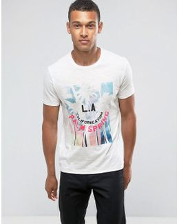 Man T-shirt With La Print In White