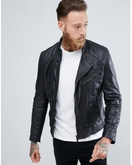 Man Leather Biker Jacket