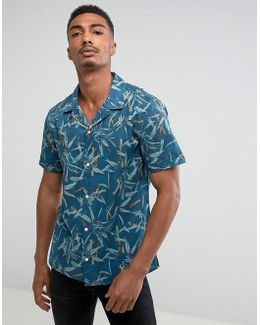 Man Short Sleeve Revere Collar Shirt With Bamboo Print