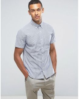 Man Short Sleeve Shirt In Blue And White Stripe