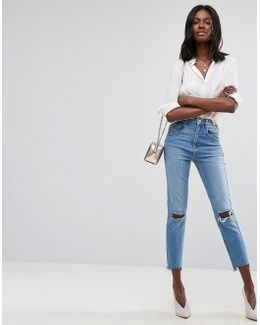 Farleigh High Waist Slim Mom Jeans With Panel Seams And Busted Knees In Prince Wash