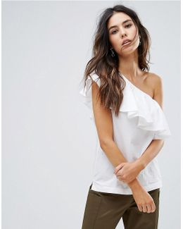 Cotton Ruffle One Shoulder Top