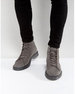Lace Up Boots In Grey Suede With Ribbed Sole