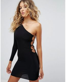 One Shoulder 80's Mini Bodycon Dress