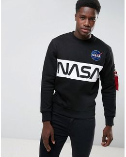 Nasa Inlay Crew Sweatshirt In Black