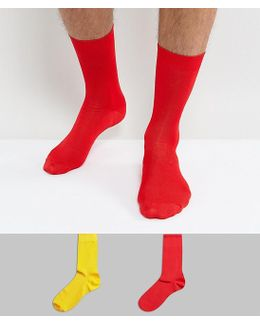 Smart Socks In Shiny Viscose In Red And Yellow 2 Pack