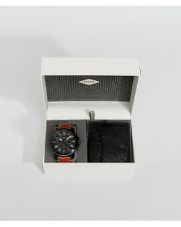 Leather Watch And Wallet Gift Set In Tan Fs5335set
