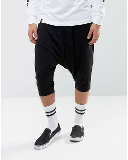 Lightweight Extreme Drop Crotch Shorts With Zip Pockets