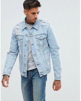 Denim Jacket With Rips In Extreme Light Wash