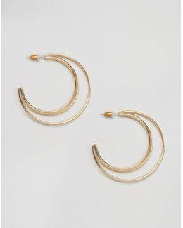 Flat Crescent Hoop Earrings