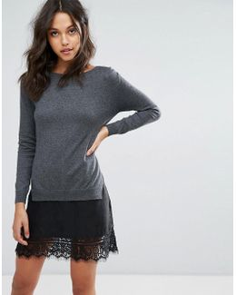 Melba Knits Sweater Dress With Lace Insert