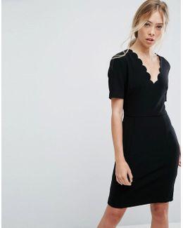 Scallop V Neck Dress