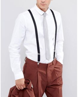 Wedding Suspenders In Black With Vintage Finish