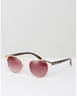 Round Sunglasses With Peach Frame