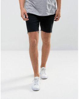 Man Raw Hem Denim Shorts In Black