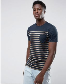 Man Striped T-shirt In Navy And Orange