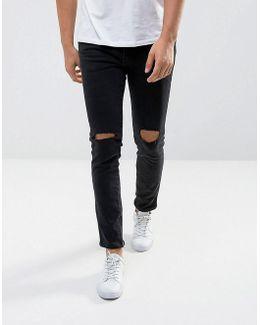 Man Ripped Skinny Jeans With Zip Hem In Black