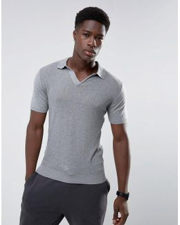 Man Muscle Fit Knitted Polo With Revere Collar In Grey