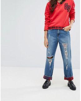 Gigi Hadid High Waist Cropped Straight Leg Jean With Tartan Detail