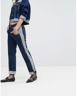 Gigi Hadid Mid Rise Crop Straight Jean With All Over Studs