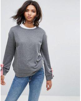Tie Sleeve Detail Sweater