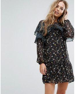 Floral Frill Mesh Dress