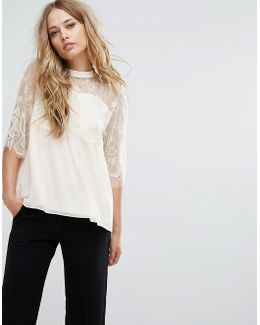 Lace Sleeve Shell Top