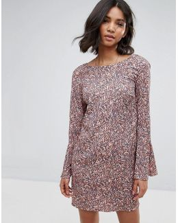 Printed Fluted Sleeve Dress
