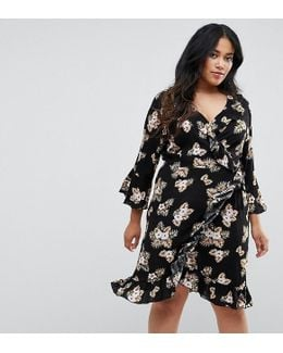 Plus 3/4 Sleeve Detailed Wrap Black Floral Day Dress