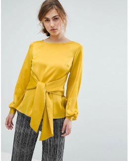 Satin Blouse With Oversized Tie Front Detail