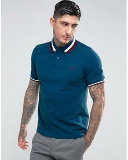 Slim Fit Textured Large Tipped Polo In Blue