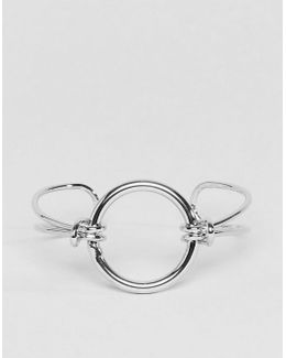Knot And Open Circle Cuff Bracelet