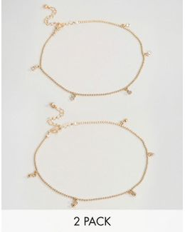 Exclusive Pack Of 2 Ball And Crystal Drop Anklets