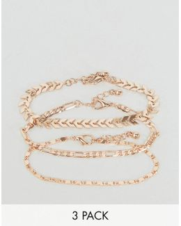Pack Of 3 Chain Detail Bracelets