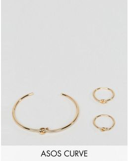 Curve Pack Of 3 Knot Rings And Cuff Bracelet Pack