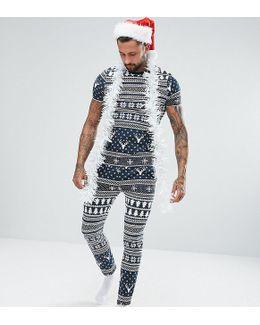 Pyjama Set In Christmas Fair Isle Print