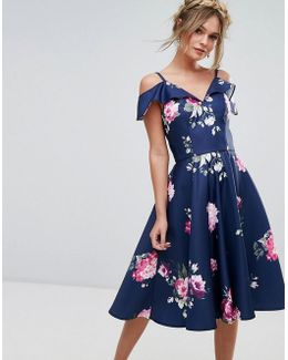 Midi Dress With Frill Cold Shoulder