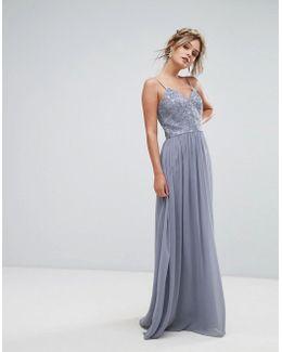 Cami Strap Maxi Dress With Premium Lace