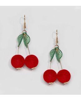 Cherry Drop Pom Earrings