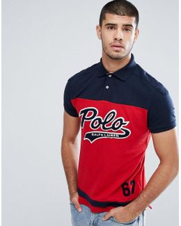 Custom Slim Fit Pique Polo With Large Baseball Logo In Red