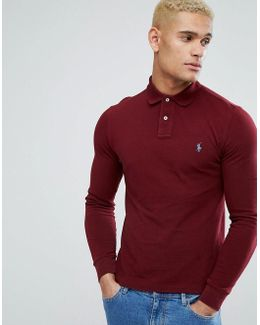 Pique Polo Long Sleeve Slim Fit In Burgundy