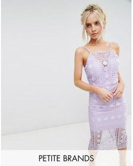 High Neck Lace Midi Dress With V Back