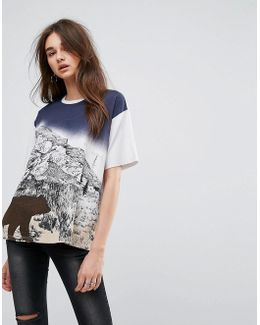 T-shirt In Boxy Fit With Retro Bear Print